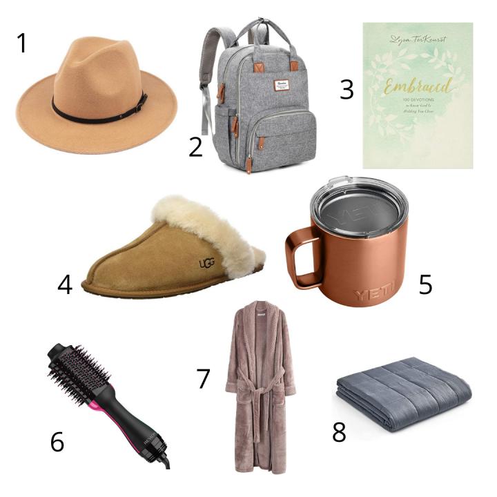 christmas gift ideas for women, brown felt hat, gray backpack, embraced devotional, brown ugg slippers, copper yeti mug, revlon hairdryer, plush robe, gray weighted blanket
