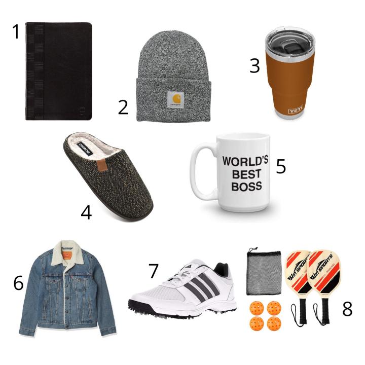 gifts for husbands, black bible, gray hat, orange tumbler, black slippers, white mug, jean jacket, golf shoes, pickle ball set