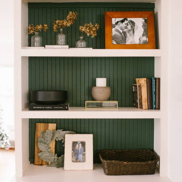 green and white vertical shiplap built in