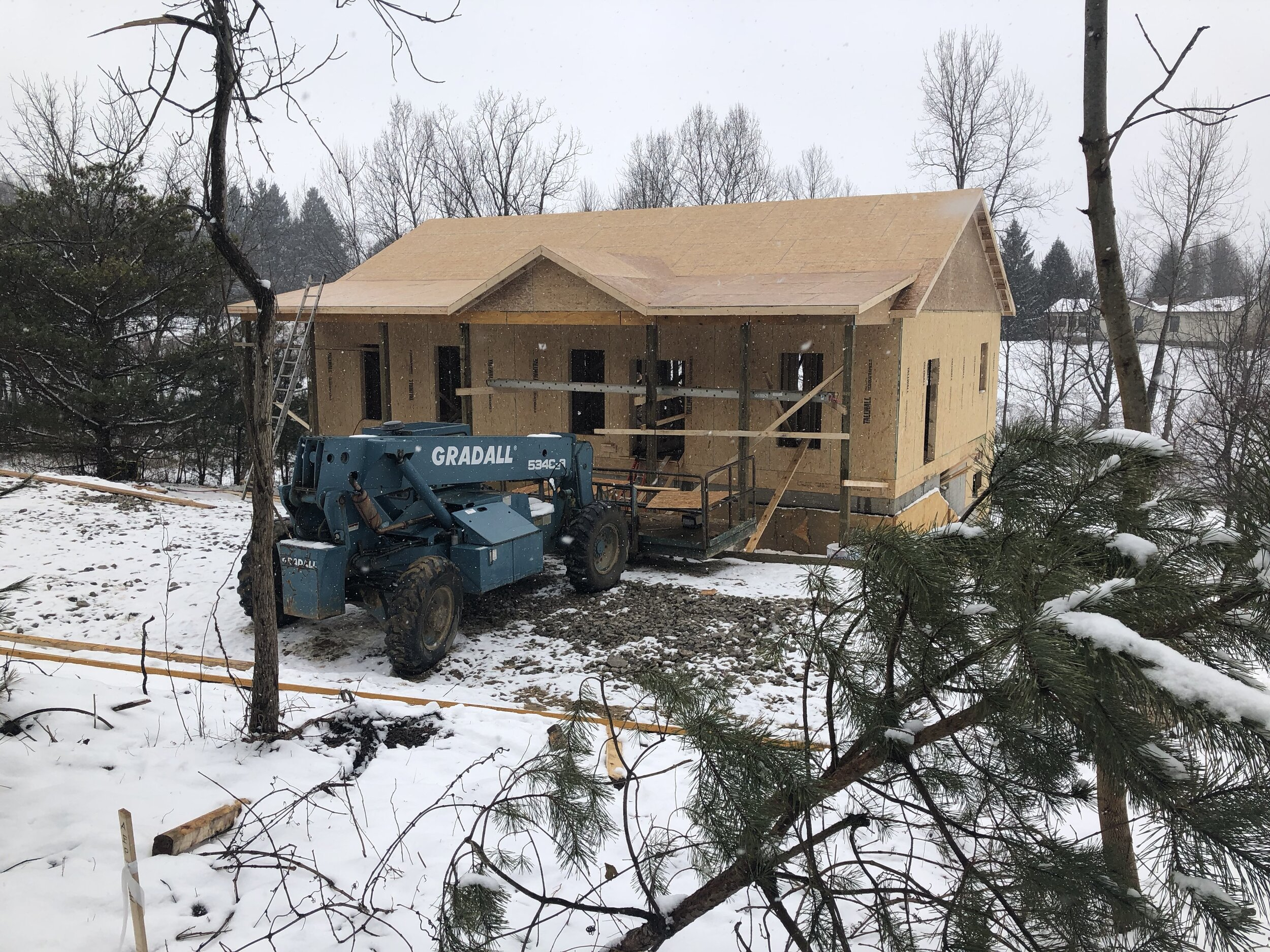 the outside framing of the new house construction