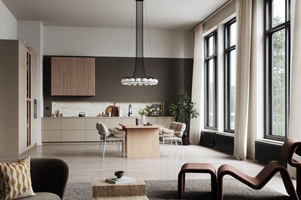 tan cabinets and modern light fixture in a scandinavian style kitchen design