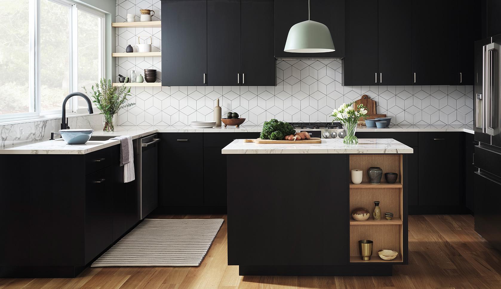 black Scandinavian kitchen with natural wood and geometric blacksplash
