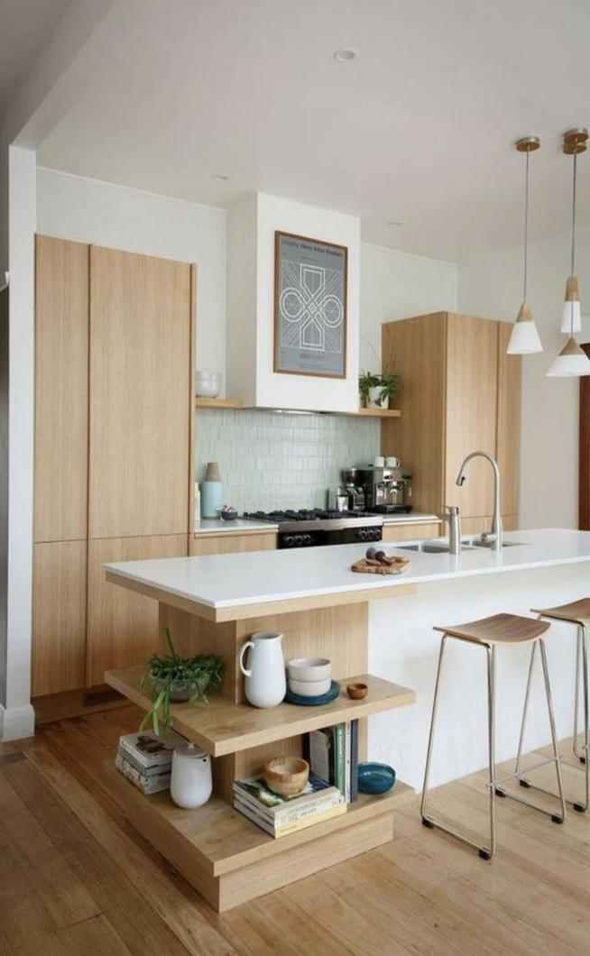 rosemary tile backsplash in a Scandinavian style kitchen with natural wood cabinets