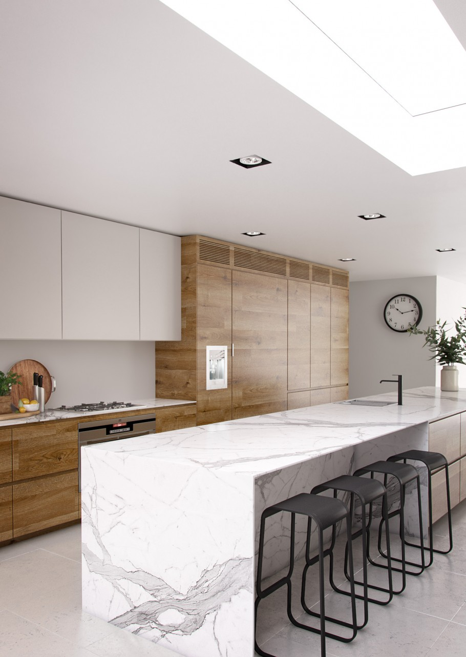 white marble countertops and wood cabinets in a scandinavian kitchen