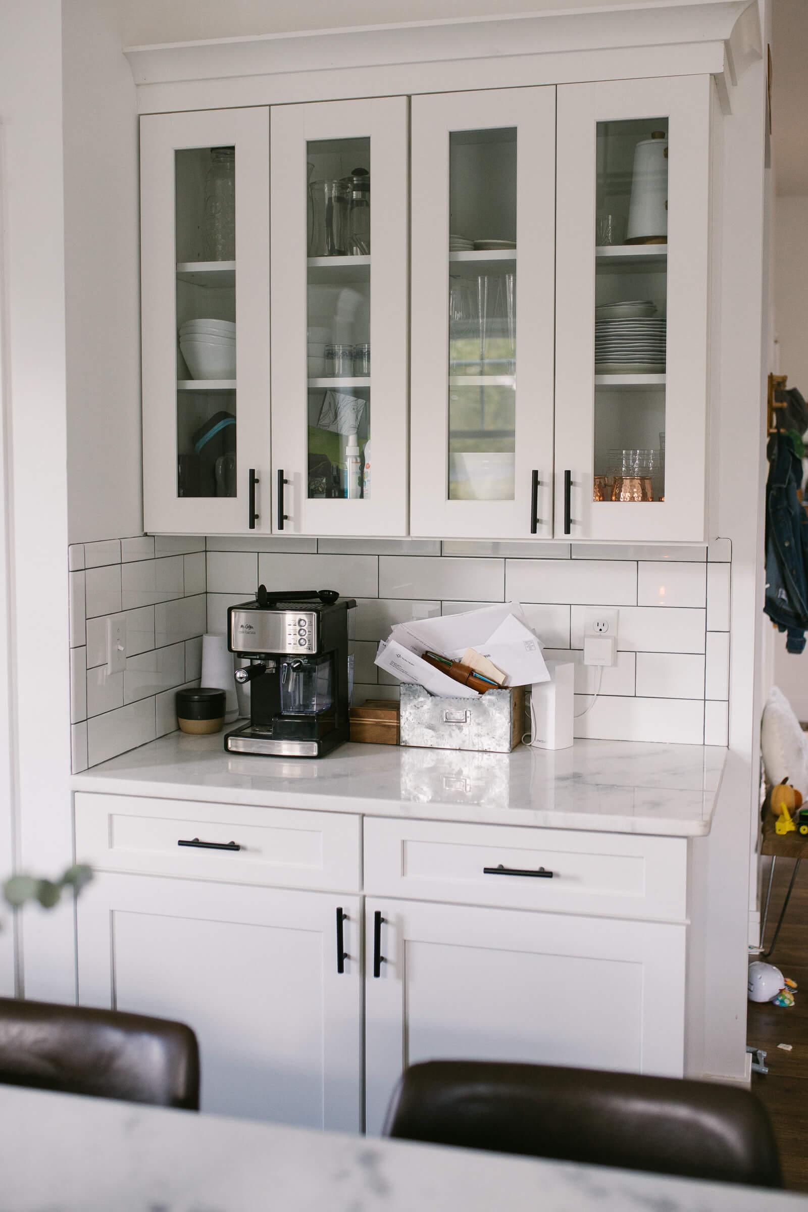 white glass kitchen cabinets