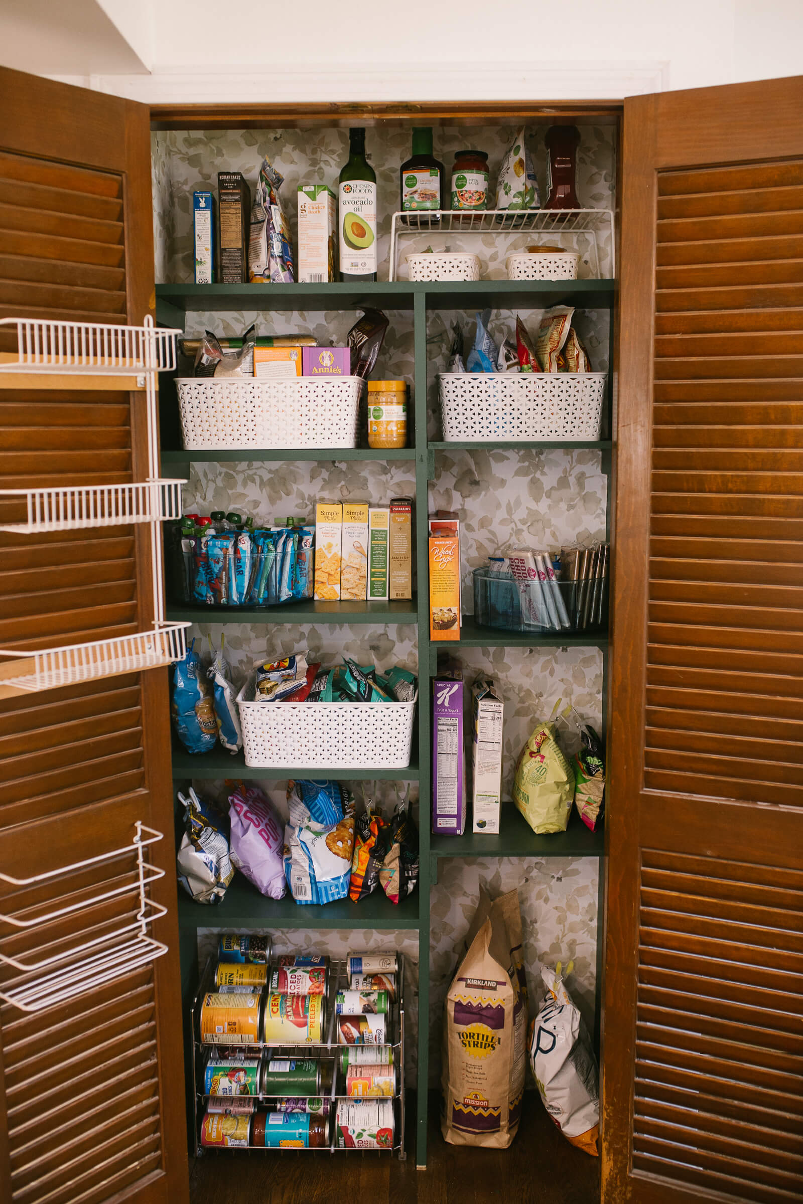 pantry organization ideas full stocked with green paint, vine leaf by Behr