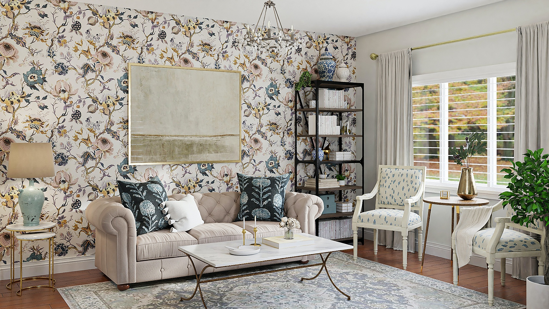 Living room decorated in current design trend Granny Chic or Grand Millennial