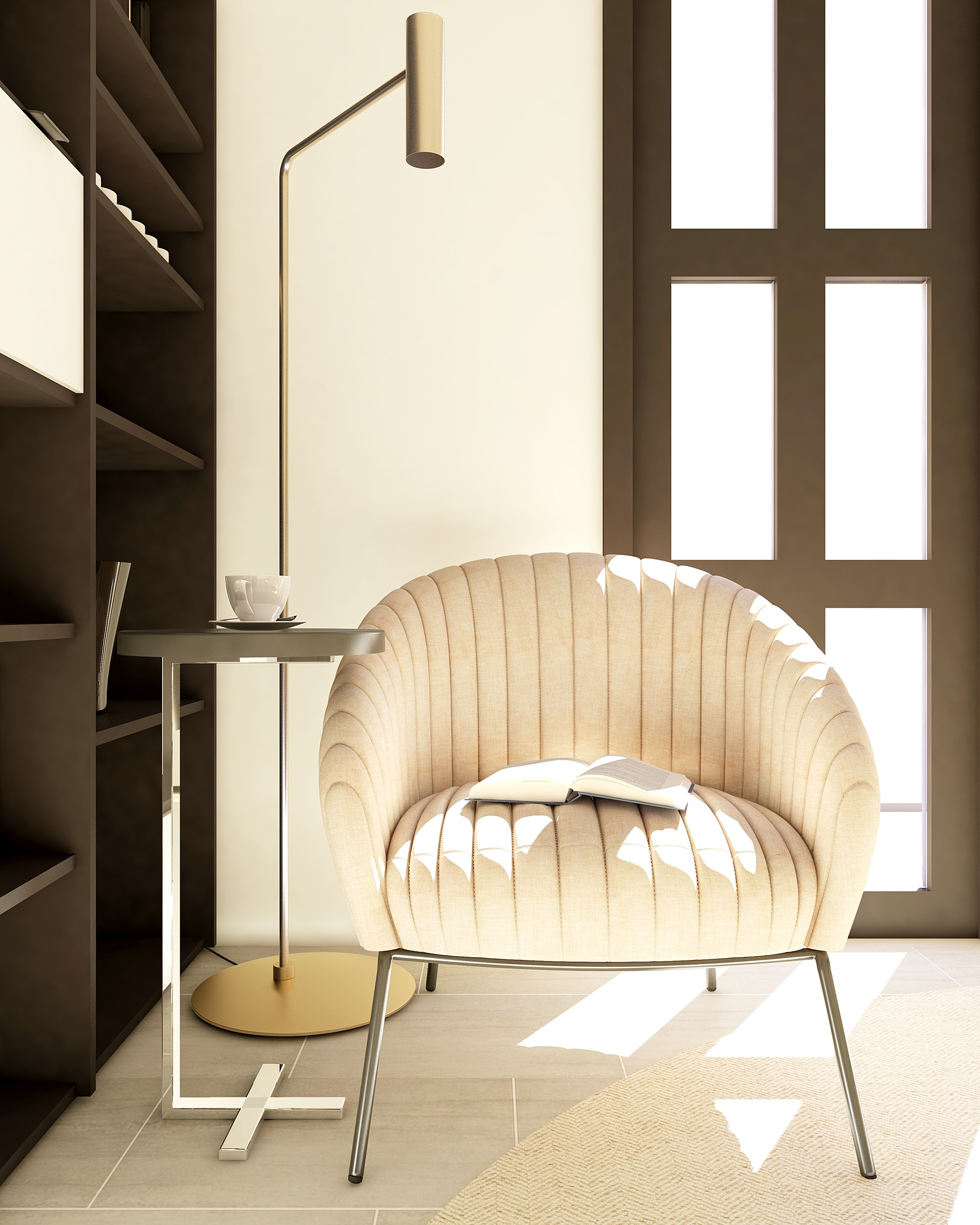 Sitting area that showcases a Japandi design, with sleek, clean lines.