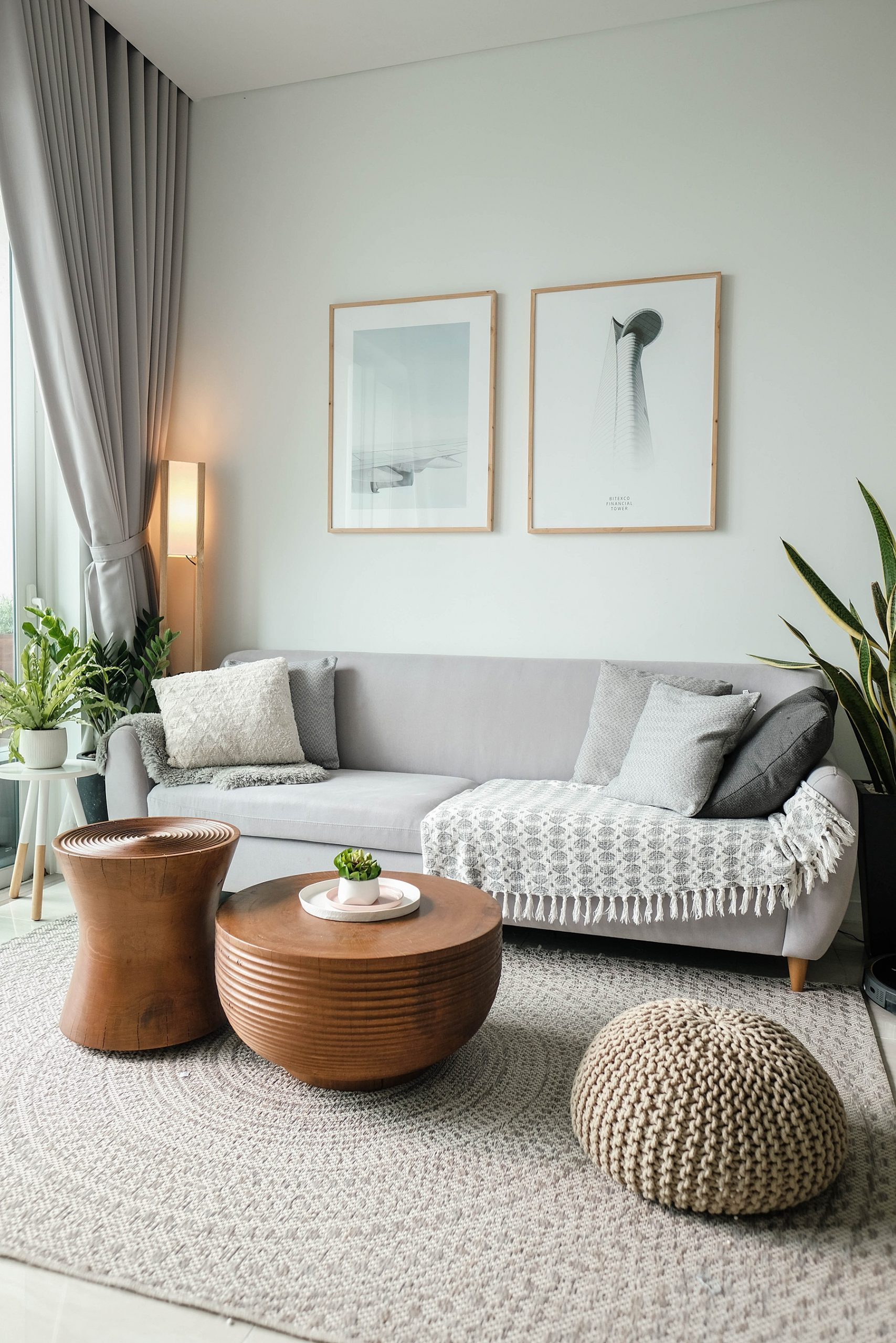 Sitting area with neutral colors and light wood tones and other modern design elements