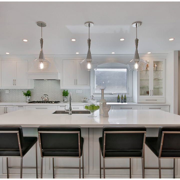 Large kitchen with island and seating