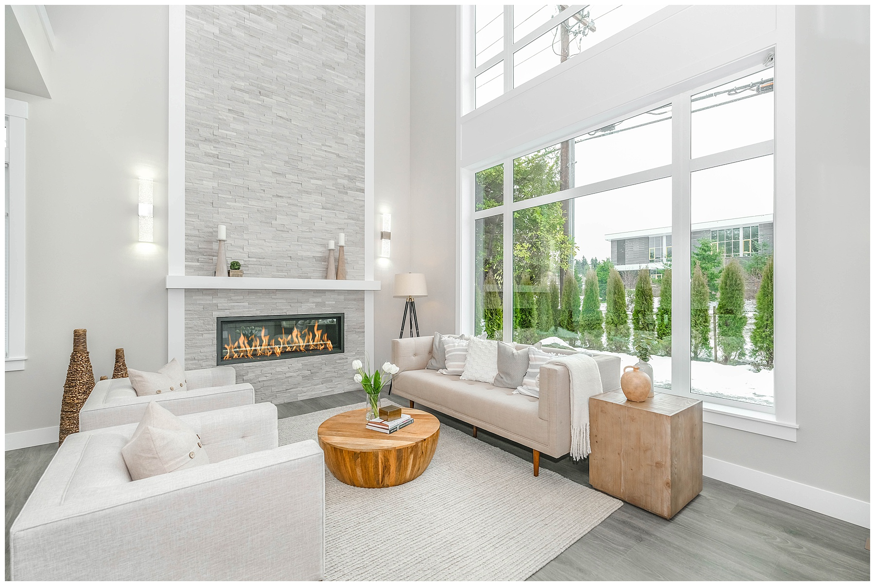 White modern living room with fireplace feature
