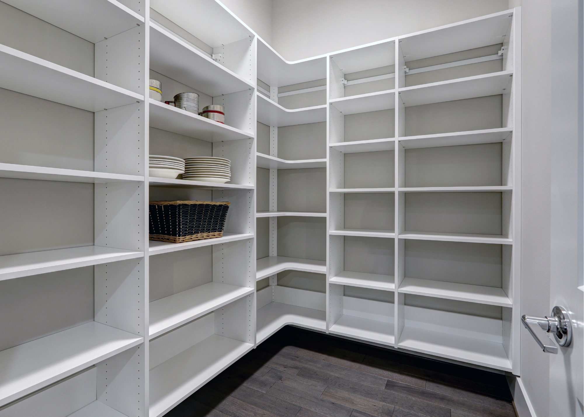 Large walk in pantry with tons of shelving